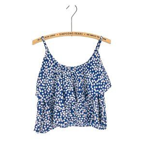 Charlotte Russe Floral Daisy Crop Top Navy